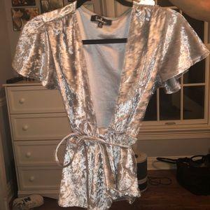Lulus crushed velvet wrap around shirt
